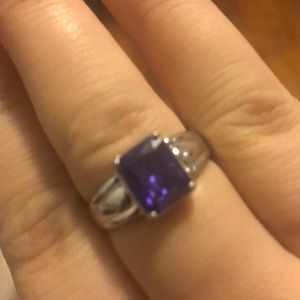 Purple stone thick band ring